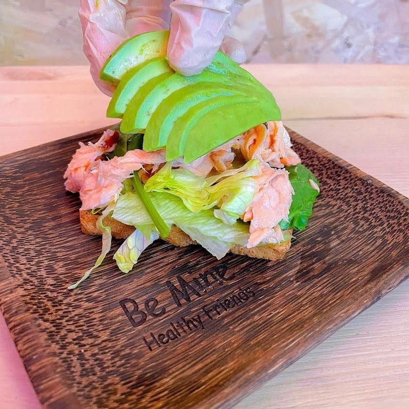 Tokyo Salmon with Be Mine Poke Sauce, Salmon, and Avocado on Rye Bread Toast (Keto-Vegan)