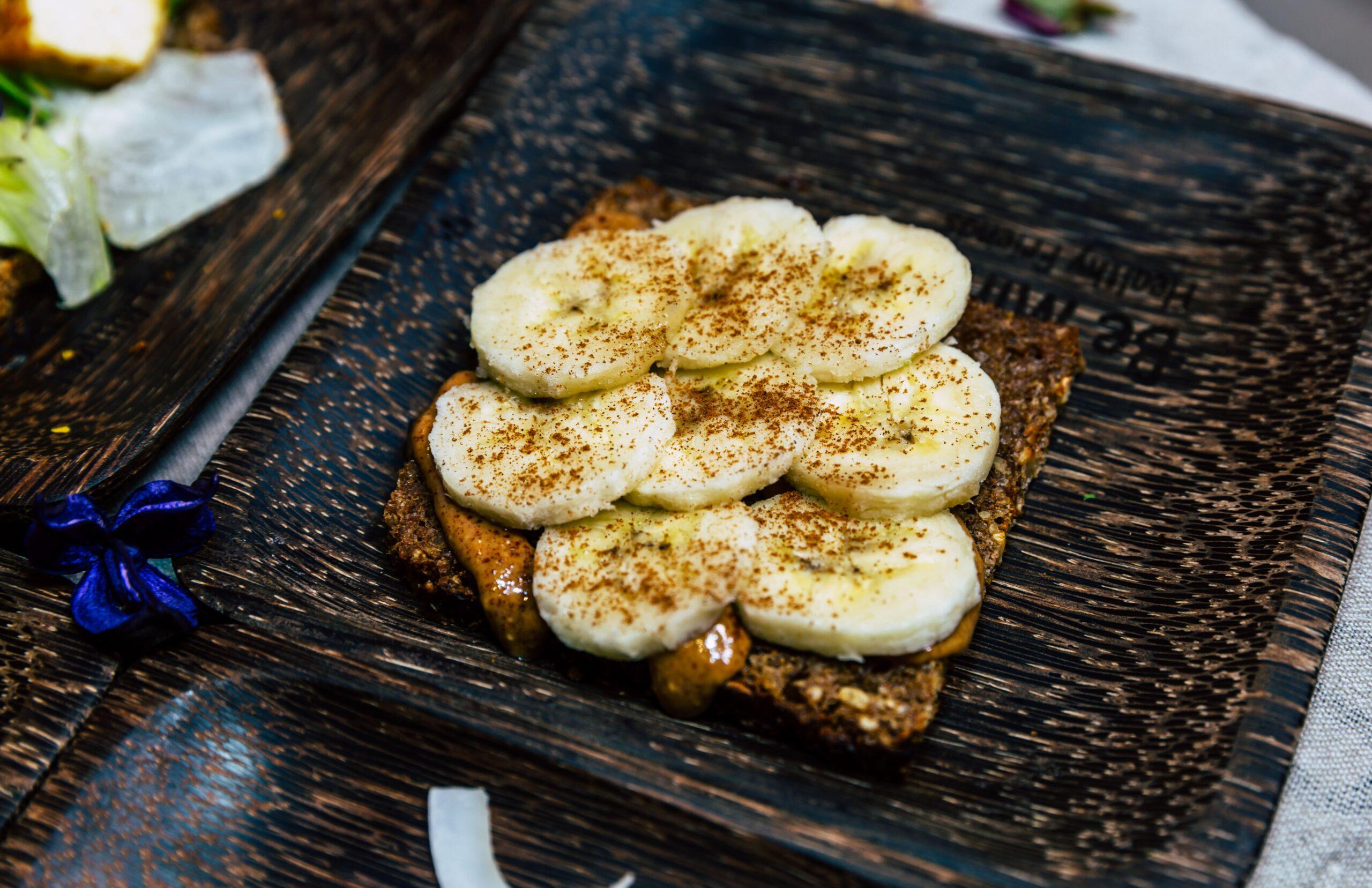 Organic Rye Bread with Organic Peanut Butter, Banana, and Cinnamon