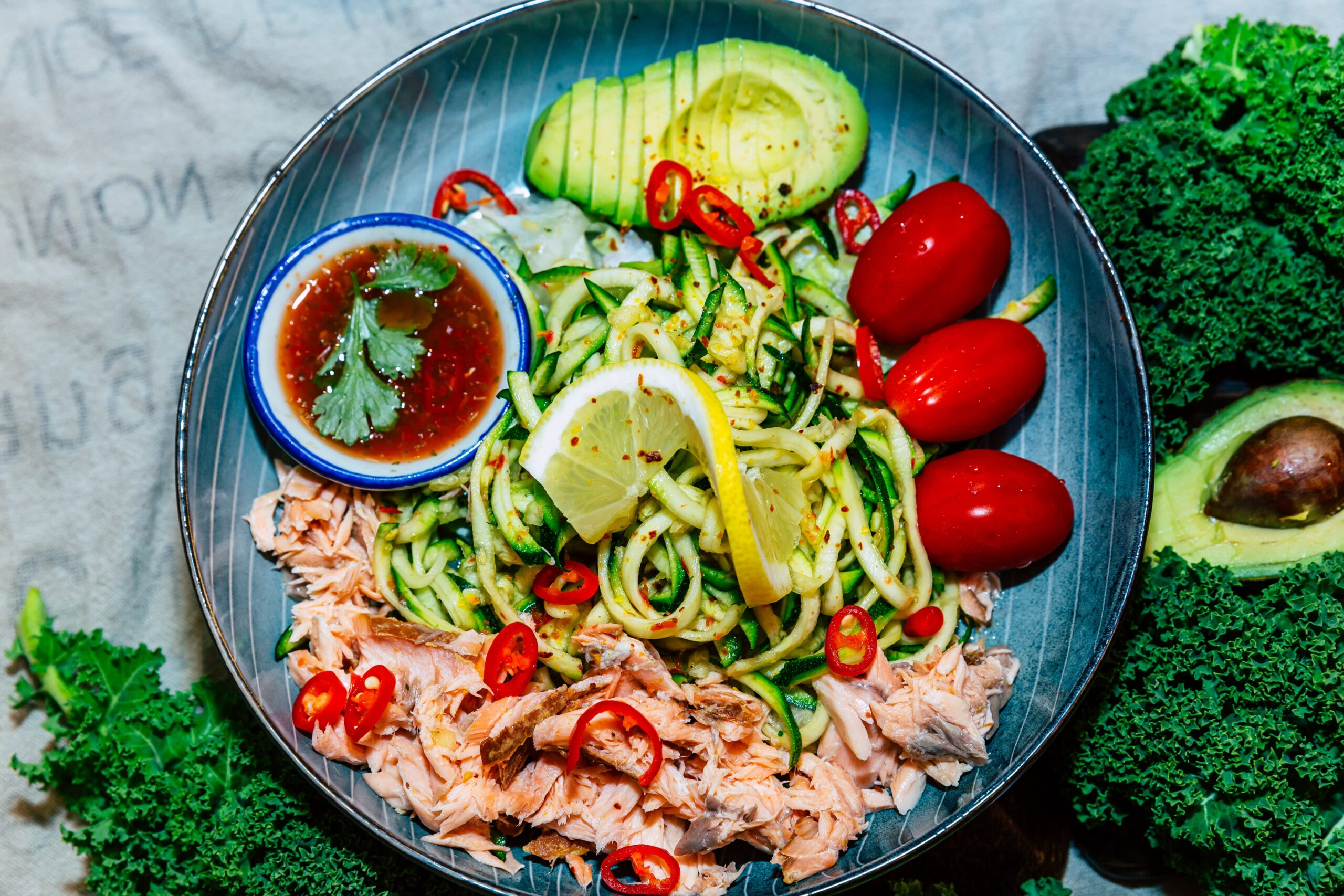Keto Zoodle on Fire Smoked Salmon